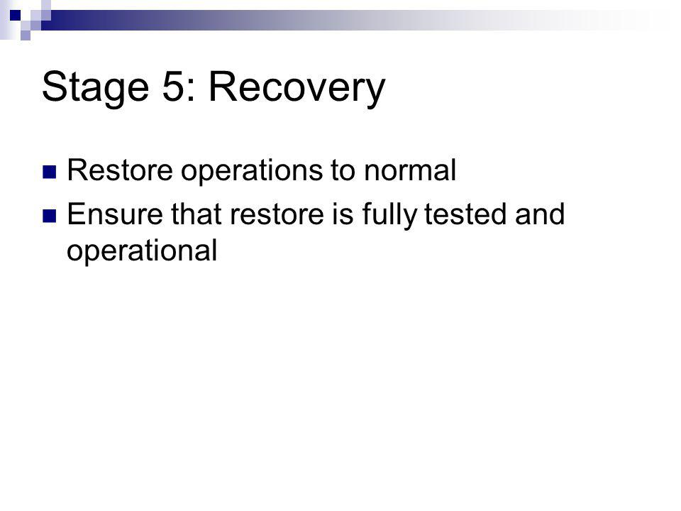 Stage 5: Recovery Restore operations to normal
