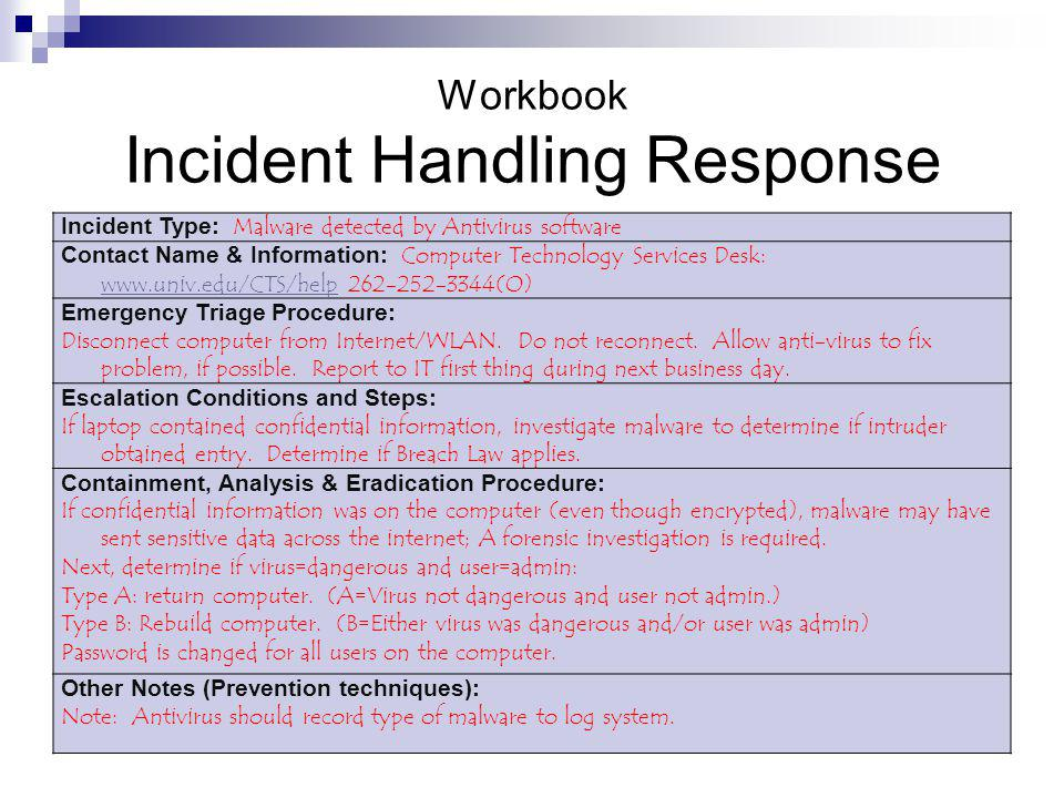 Workbook Incident Handling Response