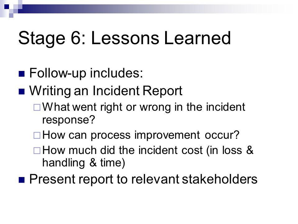 Stage 6: Lessons Learned