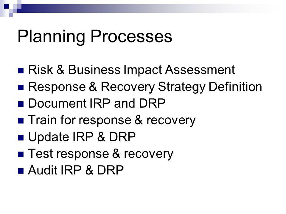 Planning Processes Risk & Business Impact Assessment