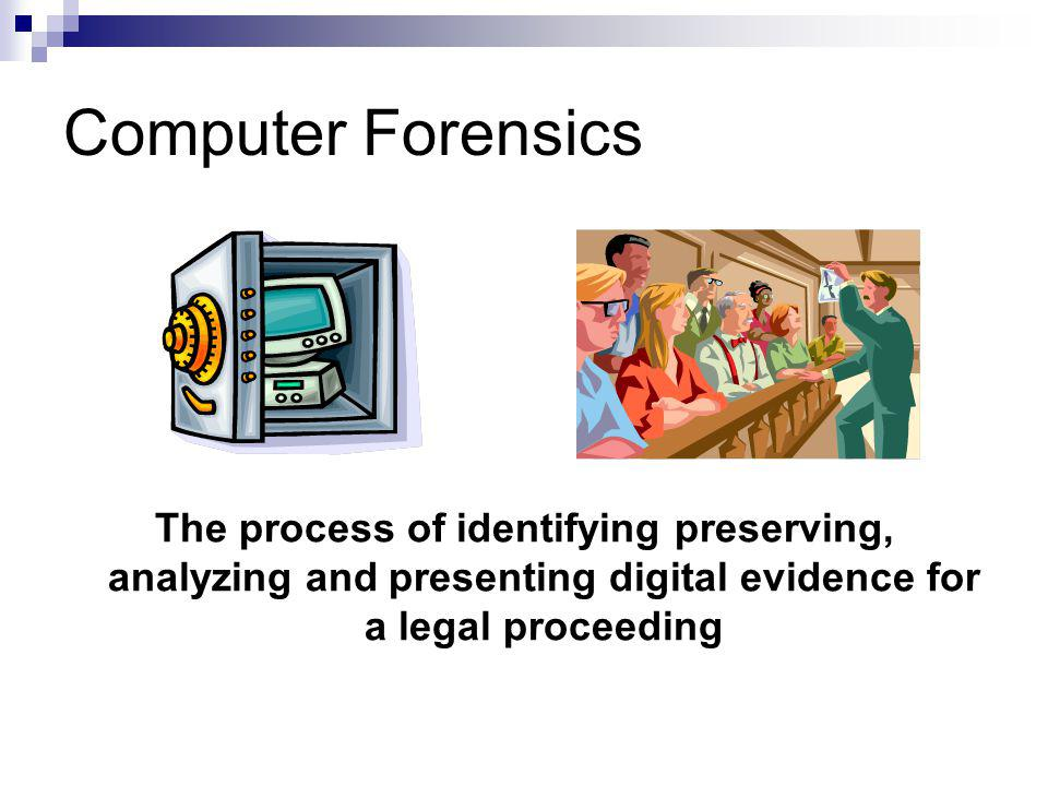 Computer Forensics The process of identifying preserving, analyzing and presenting digital evidence for a legal proceeding.