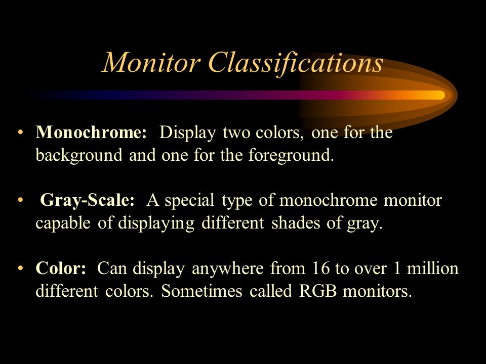 Monitor Classifications