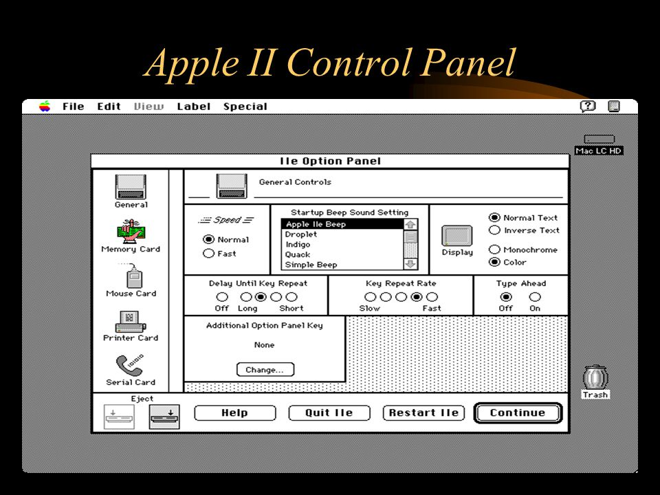 Apple II Control Panel