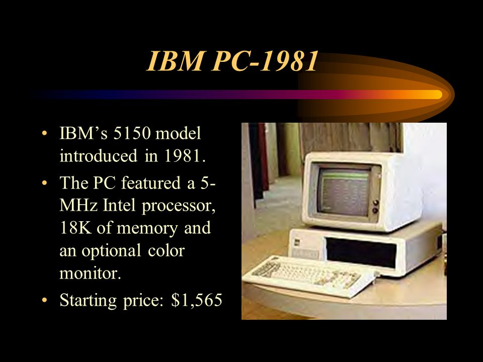 IBM PC-1981 IBM's 5150 model introduced in 1981.