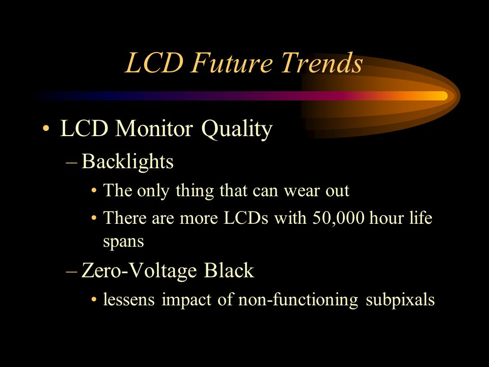 LCD Future Trends LCD Monitor Quality Backlights Zero-Voltage Black