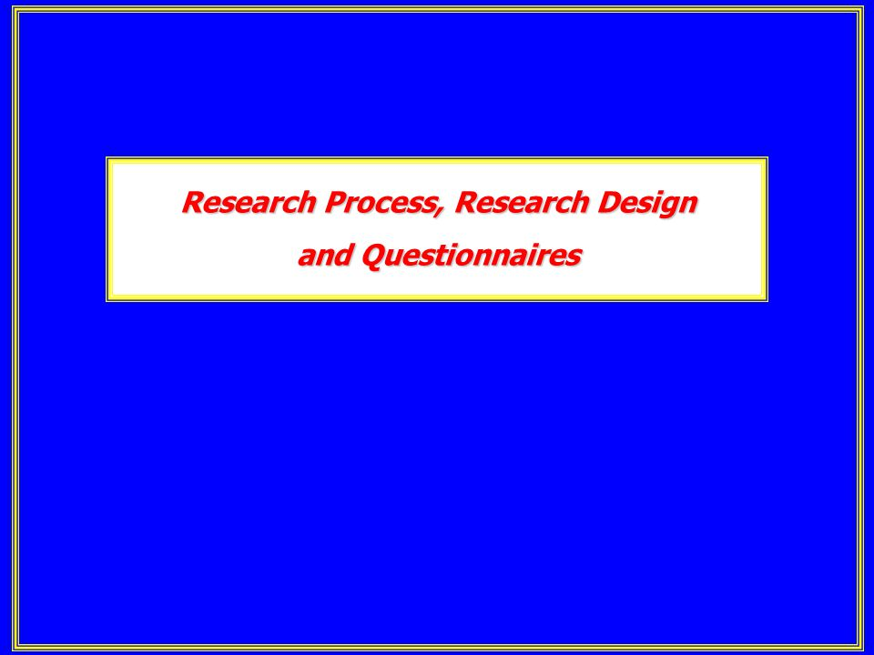 Research Process, Research Design