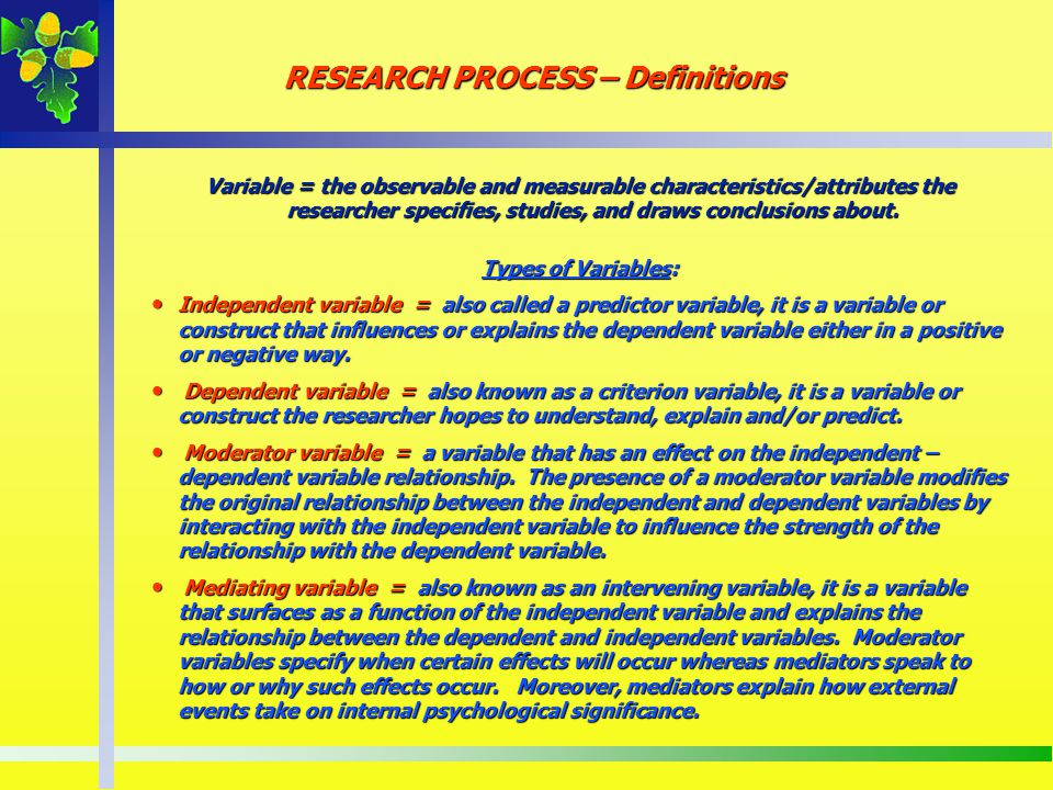 RESEARCH PROCESS – Definitions