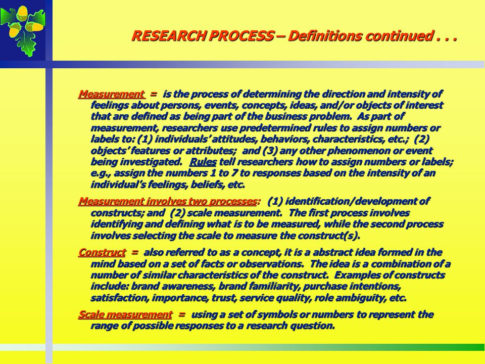 RESEARCH PROCESS – Definitions continued . . .