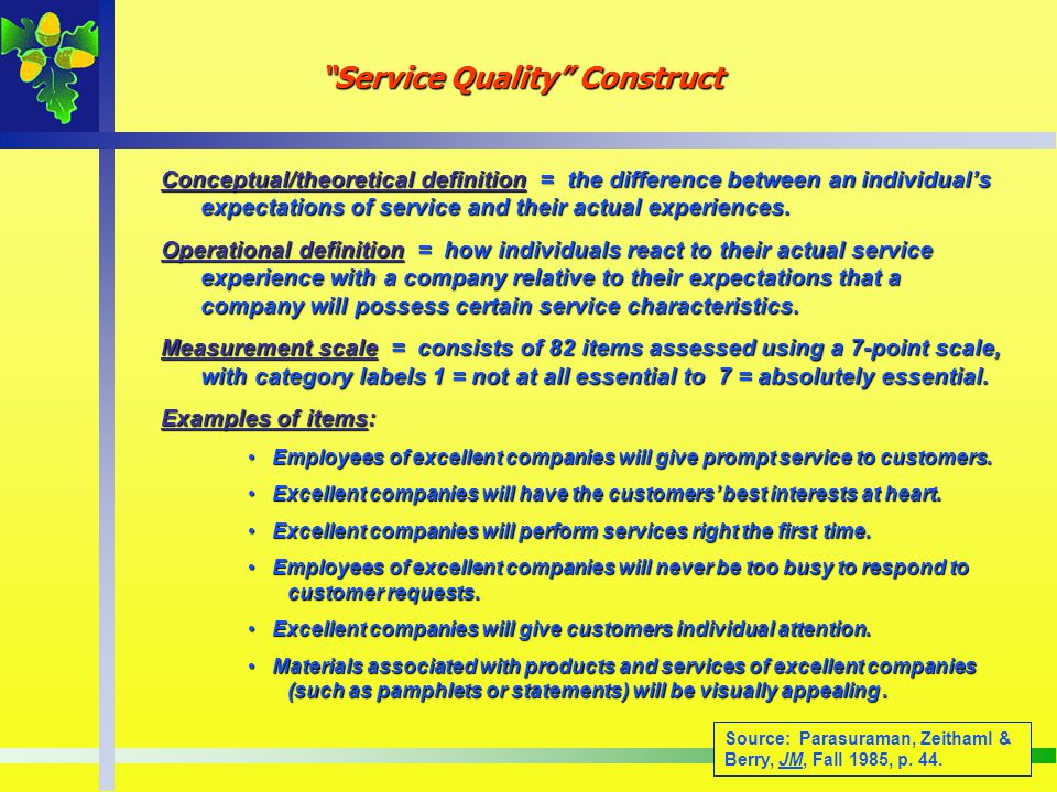 Service Quality Construct