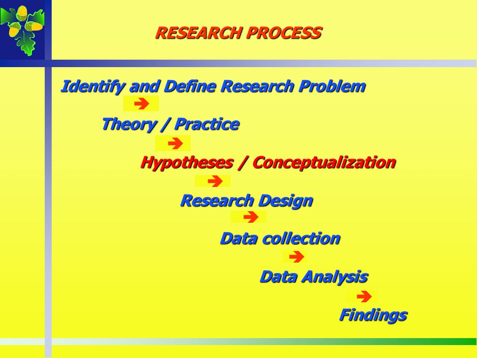 RESEARCH PROCESS Identify and Define Research Problem. Theory / Practice. Hypotheses / Conceptualization.