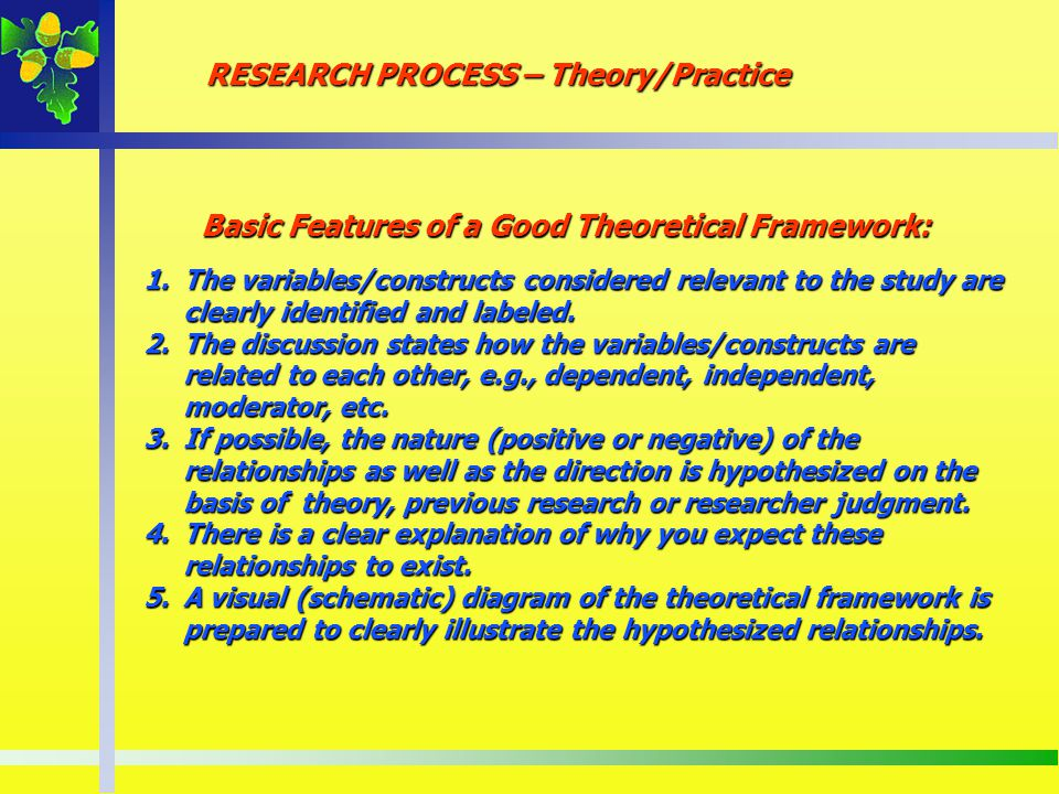 Basic Features of a Good Theoretical Framework: