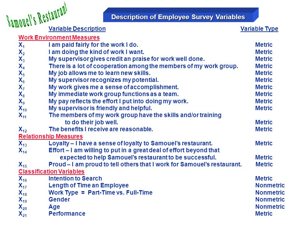 Description of Employee Survey Variables