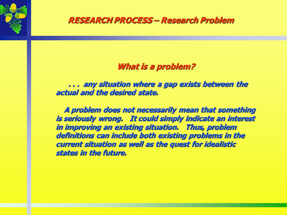 RESEARCH PROCESS – Research Problem