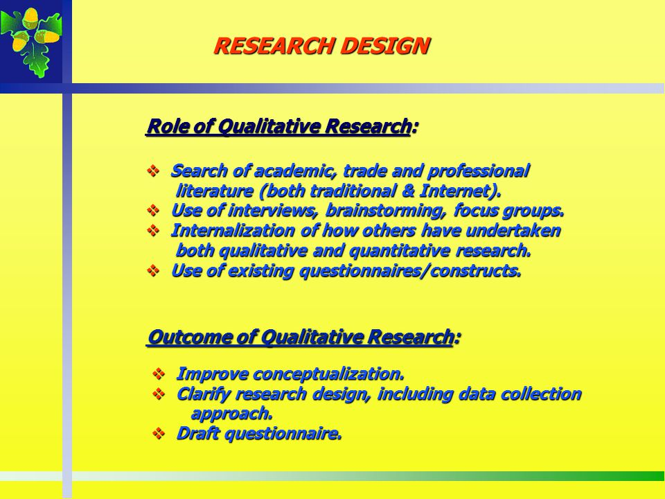 Role of Qualitative Research: