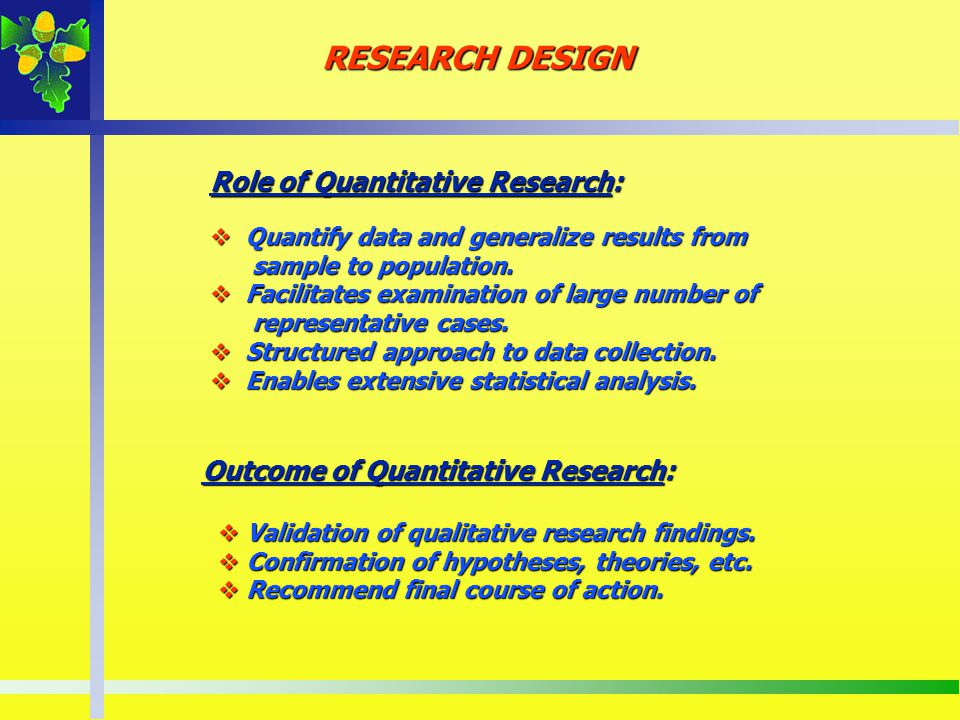 Role of Quantitative Research: