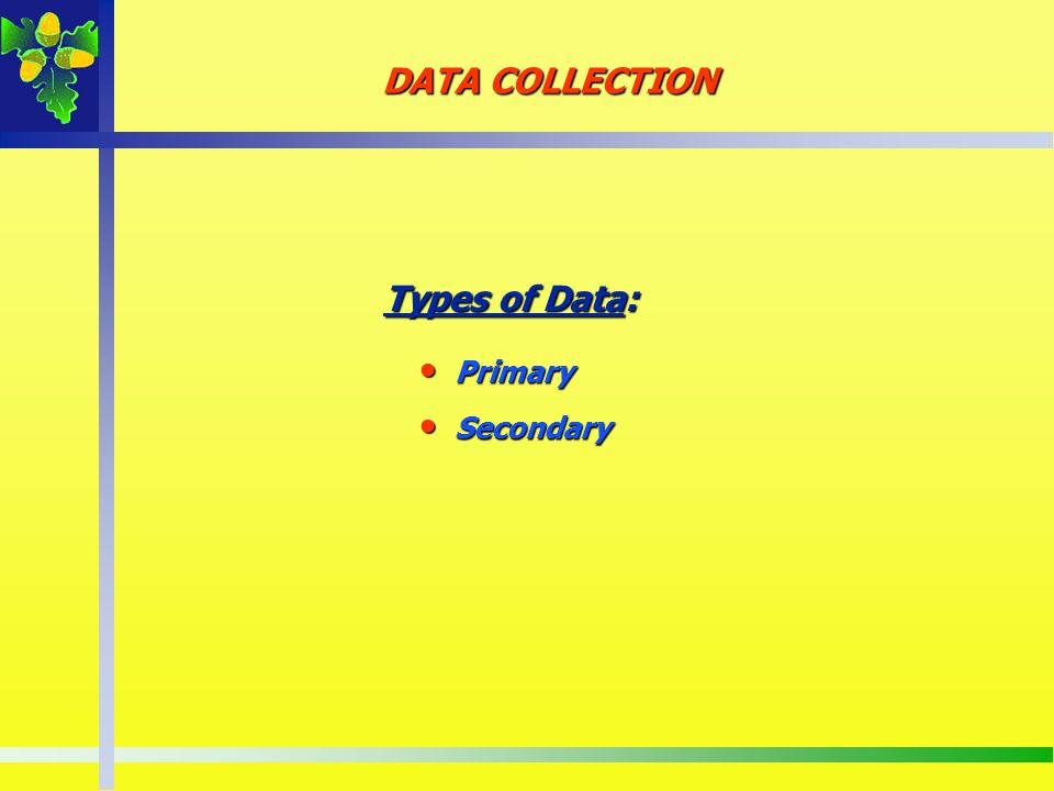DATA COLLECTION Types of Data: Primary Secondary