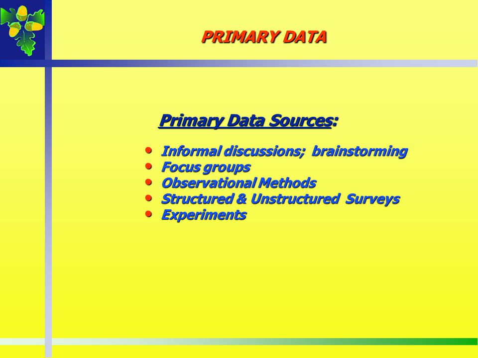 PRIMARY DATA Primary Data Sources: Informal discussions; brainstorming