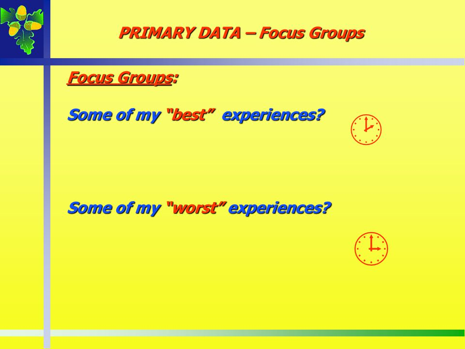 PRIMARY DATA – Focus Groups