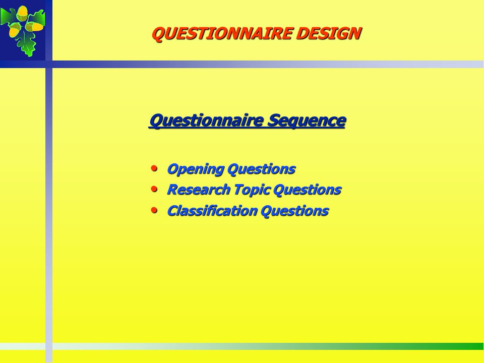 Questionnaire Sequence