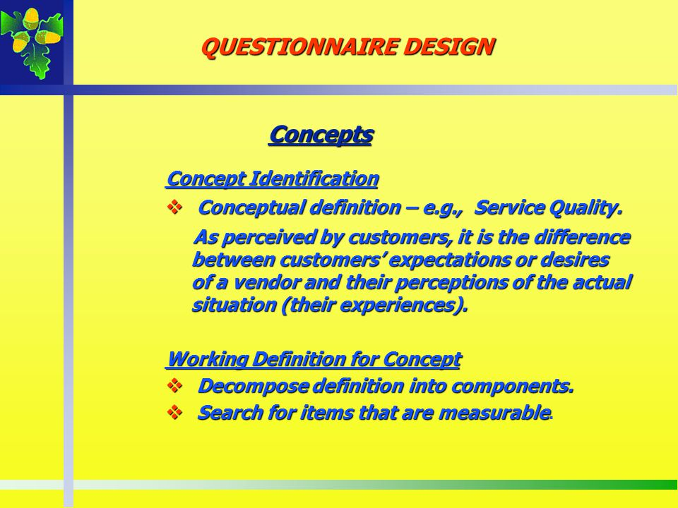 QUESTIONNAIRE DESIGN Concepts Concept Identification
