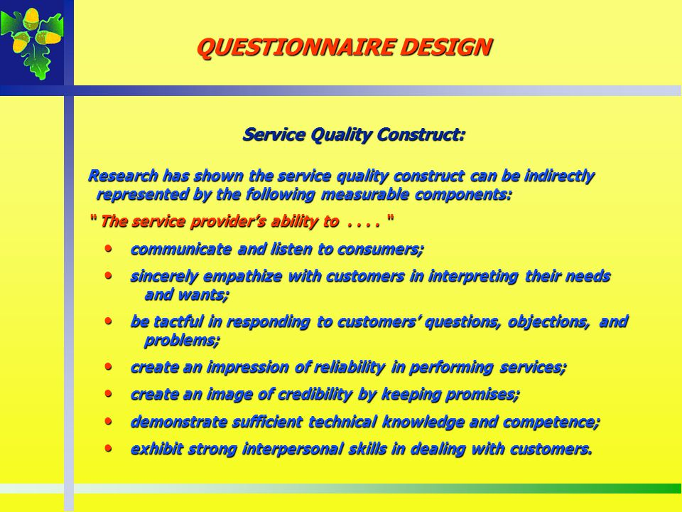 Service Quality Construct: