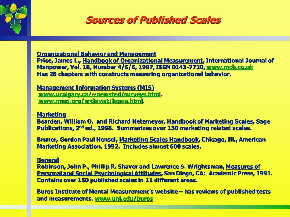 Sources of Published Scales