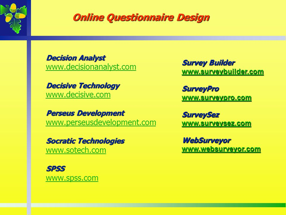 Online Questionnaire Design