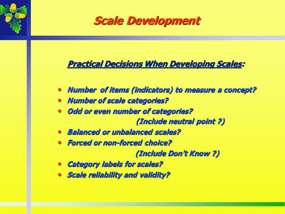 Practical Decisions When Developing Scales: