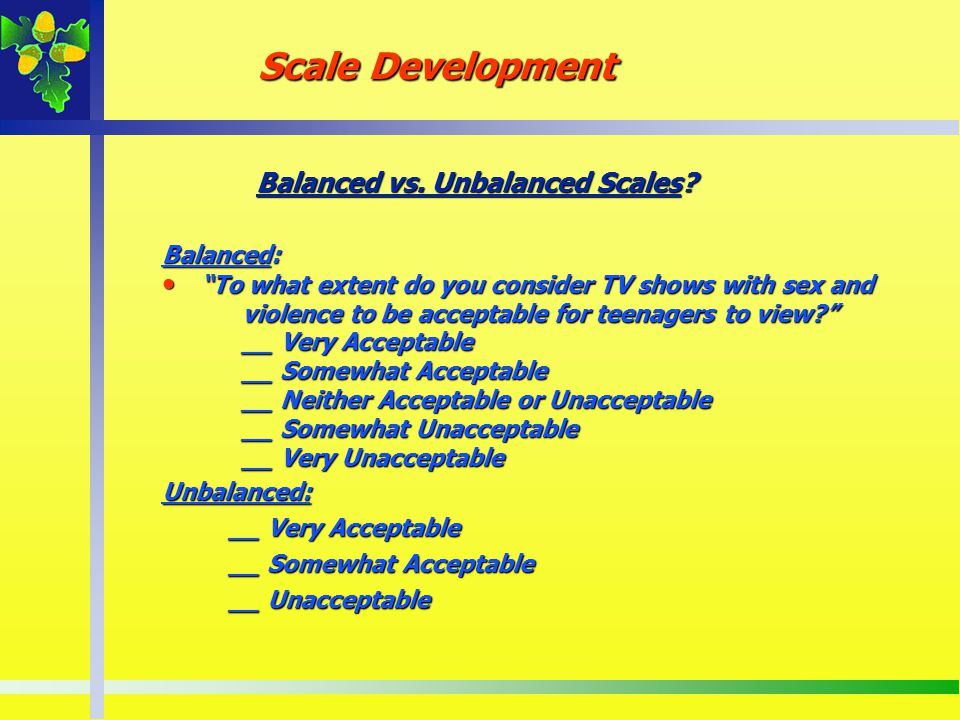 Balanced vs. Unbalanced Scales