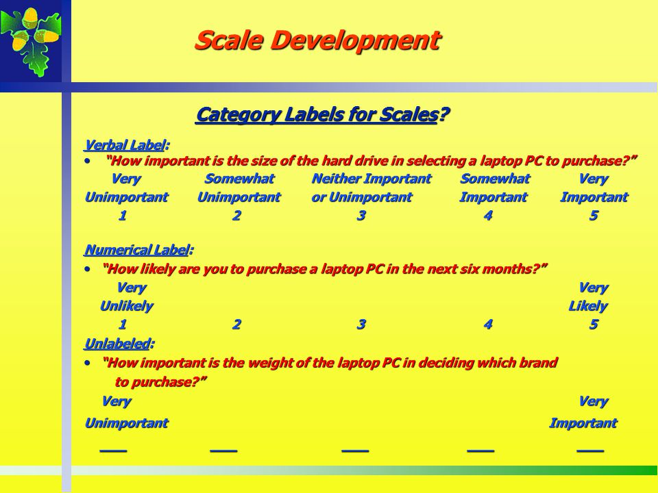 Category Labels for Scales