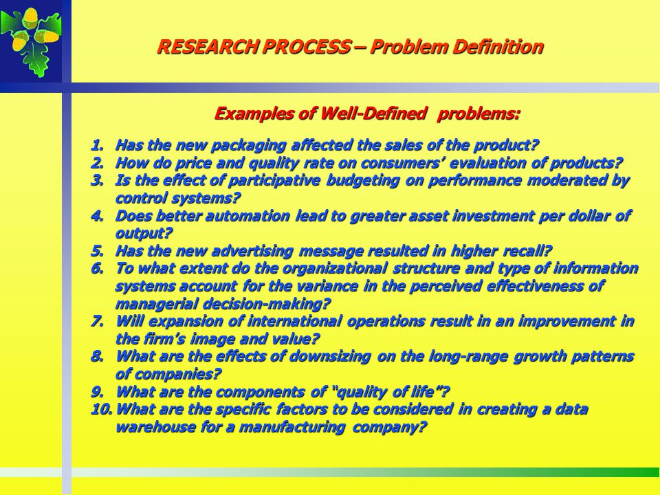 Examples of Well-Defined problems: