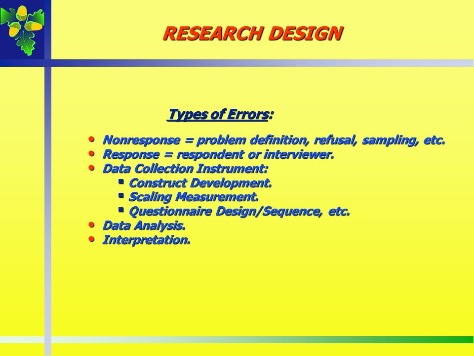 RESEARCH DESIGN Types of Errors: