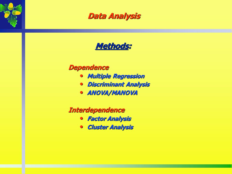 Data Analysis Methods: Dependence Interdependence Multiple Regression