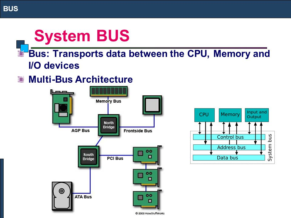 BUS System BUS Bus: Transports data between the CPU, Memory and I/O devices Multi-Bus Architecture