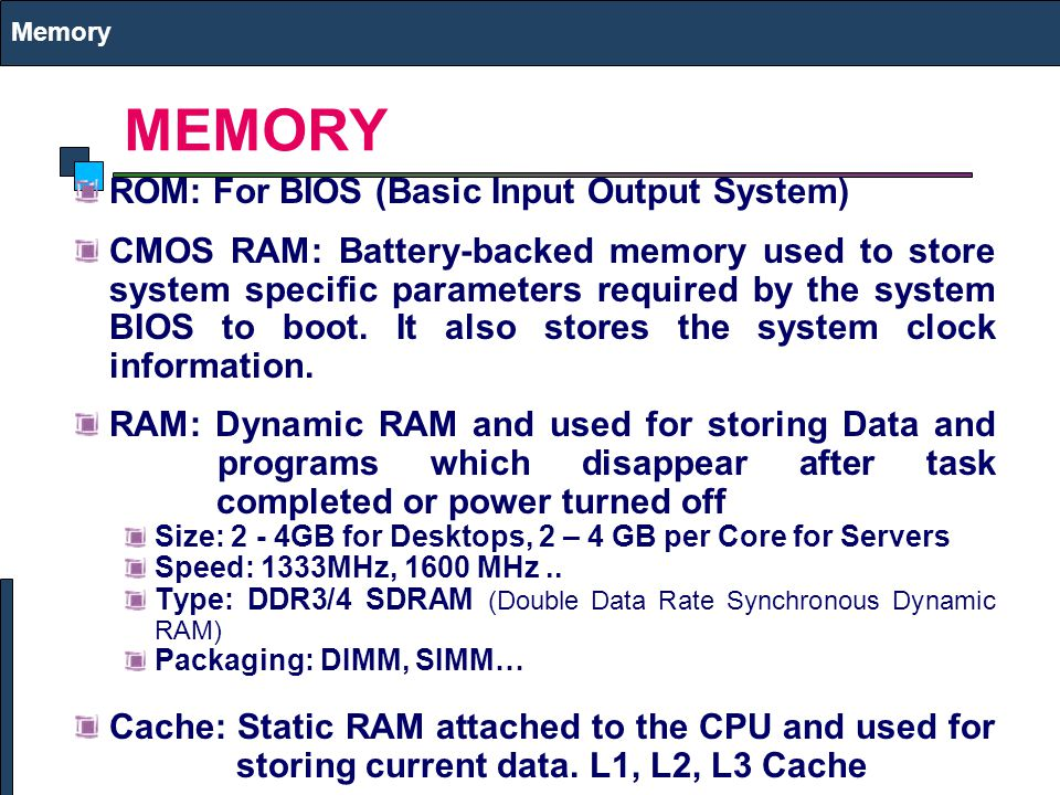 MEMORY ROM: For BIOS (Basic Input Output System)