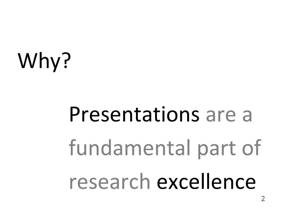 Presentations are a fundamental part of research excellence