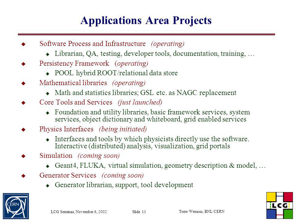 Applications Area Projects