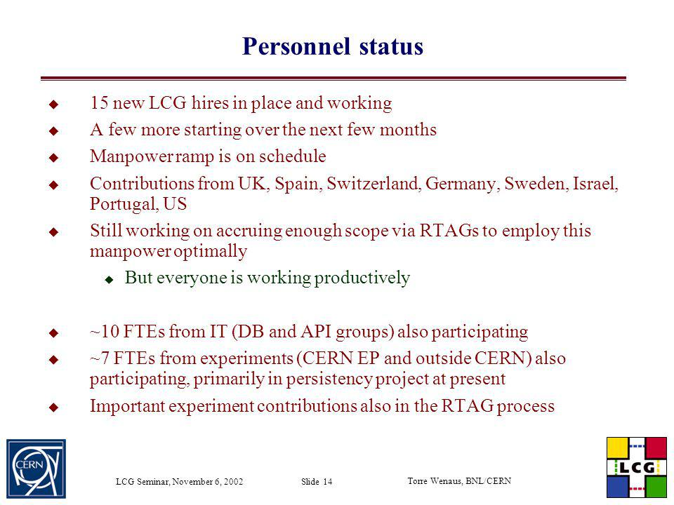 Personnel status 15 new LCG hires in place and working
