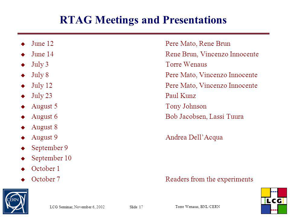 RTAG Meetings and Presentations