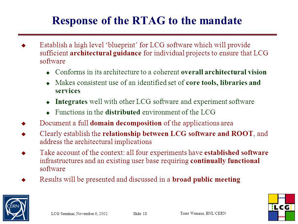 Response of the RTAG to the mandate