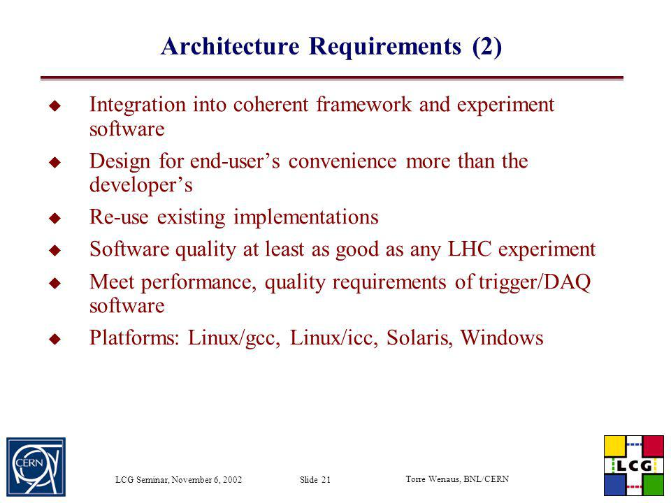 Architecture Requirements (2)