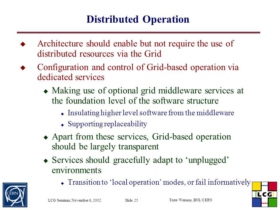 Distributed Operation