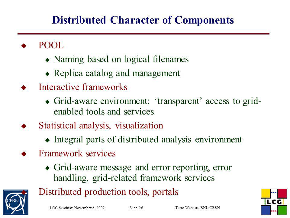 Distributed Character of Components