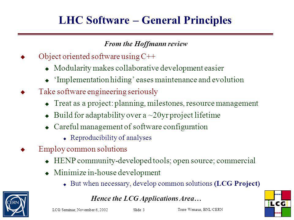 LHC Software – General Principles