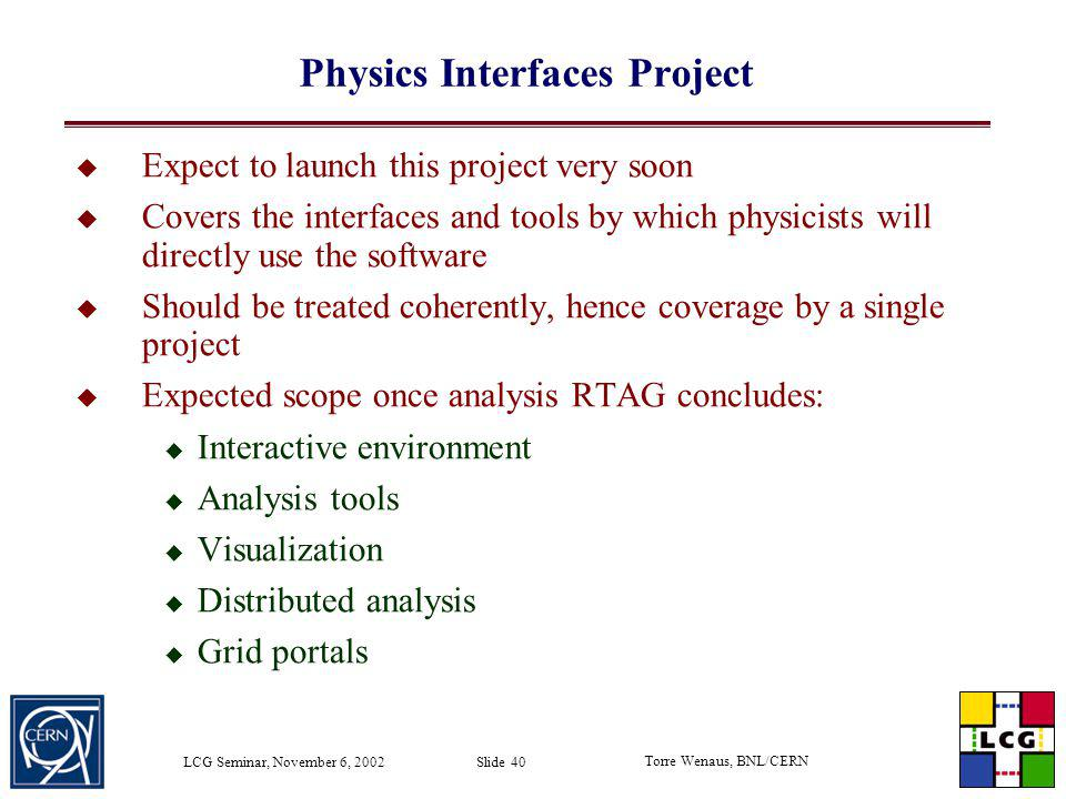 Physics Interfaces Project