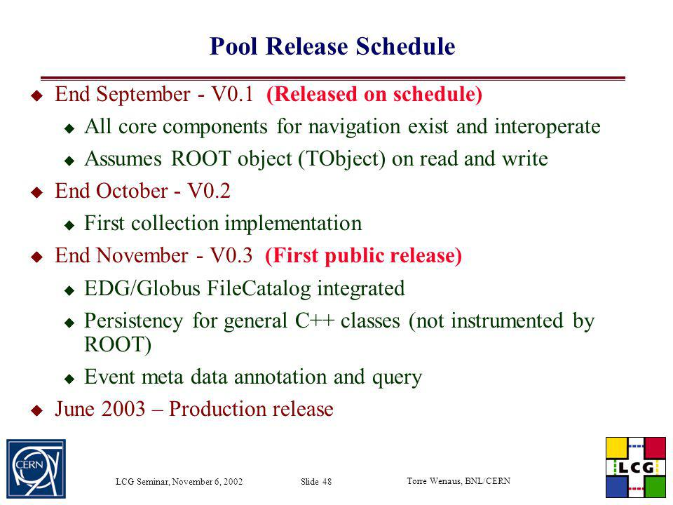 Pool Release Schedule End September - V0.1 (Released on schedule)