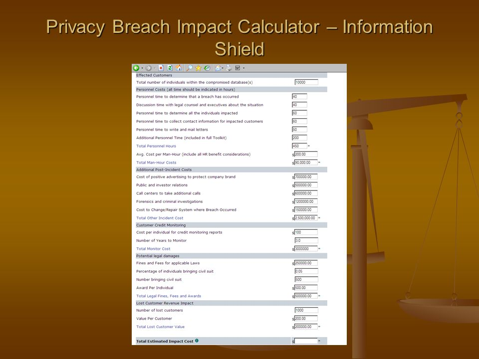 Privacy Breach Impact Calculator – Information Shield