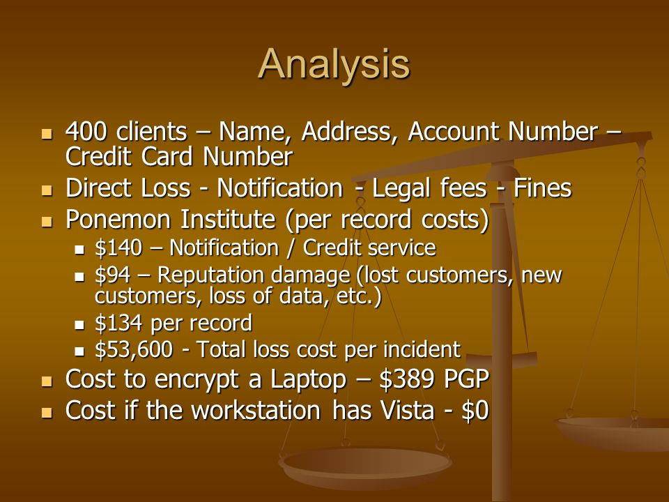 Analysis 400 clients – Name, Address, Account Number – Credit Card Number. Direct Loss - Notification - Legal fees - Fines.
