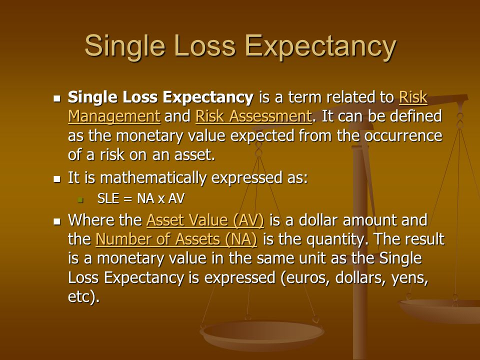 Single Loss Expectancy