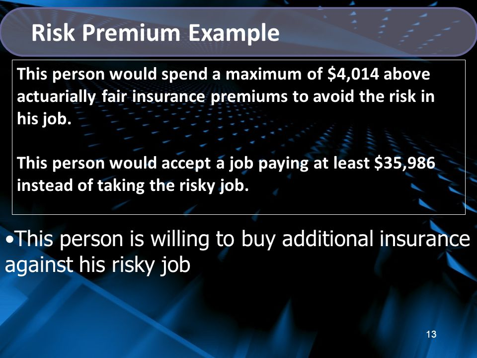 Risk Premium Example This person would spend a maximum of $4,014 above actuarially fair insurance premiums to avoid the risk in his job.